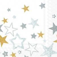 Servietten 33x33 cm - SPARKLING STARS white gold