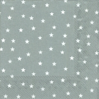 Servietten 33x33 cm - LITTLE STARS silver