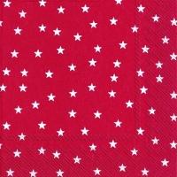 Servietten 33x33 cm - Kleine Sterne rot
