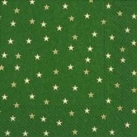 Servietten 33x33 cm - LITTLE STARS green gold