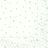 Servietten 33x33 cm - LITTLE STARS white light blue