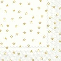 Servietten 33x33 cm - LITTLE STARS white gold