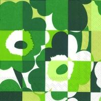 Servietten 33x33 cm - MINI-RUUTU-UNIKKO grün