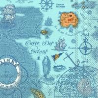 Lunch Servietten CARTE DES OCEANS blue