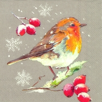 Servietten 33x33 cm - WINTER ROBIN linen
