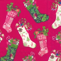 Servietten 33x33 cm - CHRISTMAS STOCKINGS red