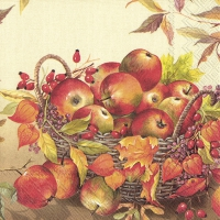 Servietten 33x33 cm - BASKET OF APPLES cream