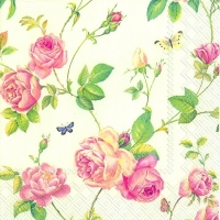 Servietten 33x33 cm - NEW RAMBLING ROSE cream