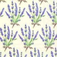 Servietten 33x33 cm - BOUQUET OF LAVENDER cream