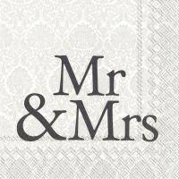 Servietten 33x33 cm - MR & MRS black