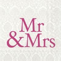 Servietten 33x33 cm - MR & MRS pink