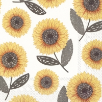 Servietten 33x33 cm - URBAN SUNFLOWER grey