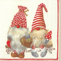 Servietten 33x33 cm - FRIENDLY TOMTE red
