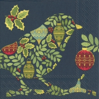 Servietten 33x33 cm - FESTIVE BIRD blue
