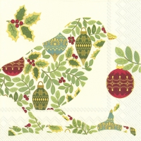 Servietten 33x33 cm - FESTIVE BIRD cream