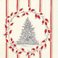 Servietten 33x33 cm - SNOWY TREE red