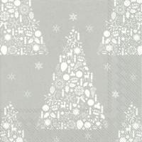 Servietten 33x33 cm - SWEET MERRY CHRISTMAS silver