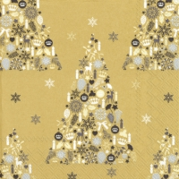 Servietten 33x33 cm - SWEET MERRY CHRISTMAS gold