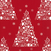Servietten 33x33 cm - SWEET MERRY CHRISTMAS rot