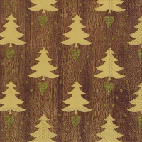 Servietten 33x33 cm - LITTLE LOVELY TREES brown