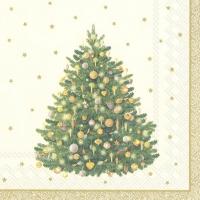 Servietten 33x33 cm - SHINY CHRISTMAS TREE cr. gold