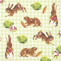 Servietten 33x33 cm - Kleine Hasen grün