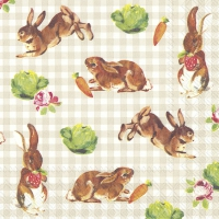 Servietten 33x33 cm - LITTLE BUNNIES linen
