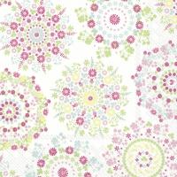 Servietten 33x33 cm - LILLY white pink