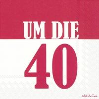 Servietten 33x33 cm - UM DIE 40 red