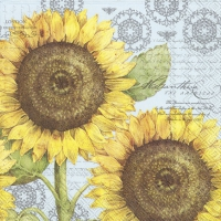 Servietten 33x33 cm - BOTANICAL SUNFLOWER light blue