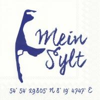 Servietten 33x33 cm - MEIN SYLT weiß