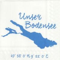 Servietten 33x33 cm - UNSER BODENSEE weiß