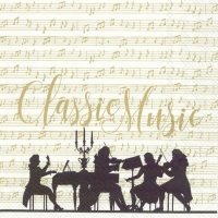 Servietten 33x33 cm - CLASSIC MUSIC cream gold