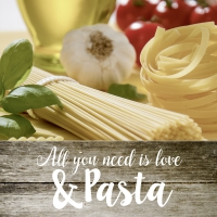 Servietten 33x33 cm - ALL YOU NEED IS LOVE & PASTA
