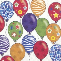 Servietten 33x33 cm - PARTY BALLOONS white