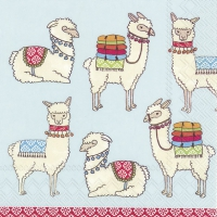 Servietten 33x33 cm - Happy Lamas light blue