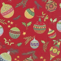 Servietten 33x33 cm - PRETTY GLOBES red