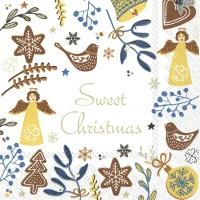 Servietten 33x33 cm - SWEET CHRISTMAS white