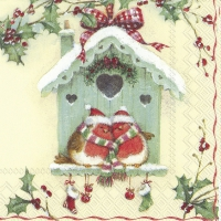 Servietten 33x33 cm - HAPPY CHRISTMAS BIRDHOUSE cr.