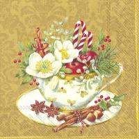 Servietten 33x33 cm - CUP OF CHRISTMAS gold