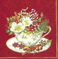 Servietten 33x33 cm - CUP OF CHRISTMAS red