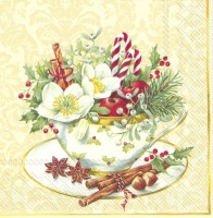 Servietten 33x33 cm - CUP OF CHRISTMAS cream