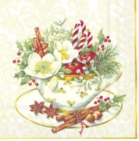 Servietten 33x33 cm - CUP OF CHRISTMAS white
