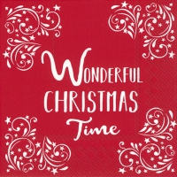 Servietten 33x33 cm - WONDERFUL CHRISTMAS TIME red