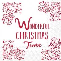 Servietten 33x33 cm - WONDERFUL CHRISTMAS TIME w.red