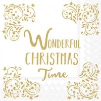 Servietten 33x33 cm - WONDERFUL CHRISTMAS TIMEw.gold