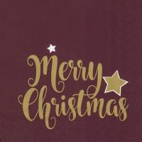 Servietten 33x33 cm - SHINY MERRY CHRISTMAS bordeaux