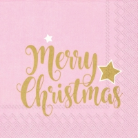 Servietten 33x33 cm - SHINY MERRY CHRISTMAS lig. ros