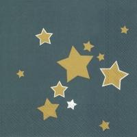Servietten 33x33 cm - SHINY STARS petrol