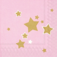 Servietten 33x33 cm - SHINY STARS light rose